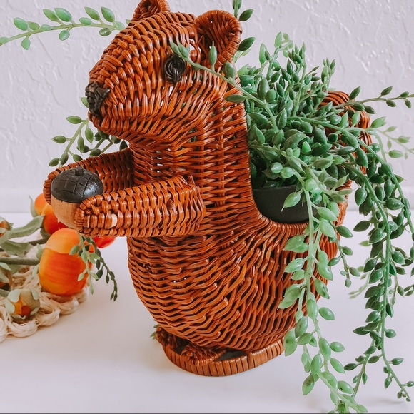Vintage wicker squirrel basket plant holder